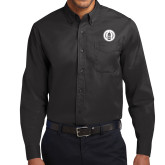 Black Twill Button Down Long Sleeve-Tower Logo