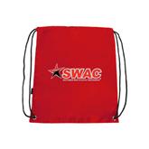 Nylon Red Drawstring Backpack-SWAC