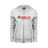 ENZA Ladies White Fleece Full Zip Hoodie-SWAC