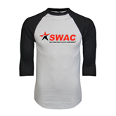 White/Black Raglan Baseball T-Shirt-SWAC