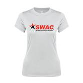 Ladies Syntrel Performance White Tee-SWAC