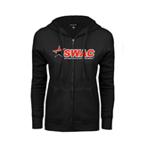 ENZA Ladies Black Fleece Full Zip Hoodie-SWAC
