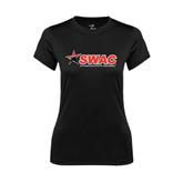 Ladies Syntrel Performance Black Tee-SWAC