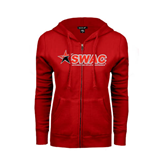 Ladies Red Fleece Full Zip Hoodie-SWAC