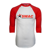 White/Red Raglan Baseball T-Shirt-SWAC