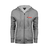 Ladies Grey Fleece Full Zip Hoodie-SWAC