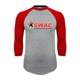 Grey/Red Raglan Baseball T-Shirt-SWAC