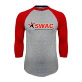 Grey/Red Raglan Baseball T Shirt-SWAC