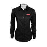 Ladies Black Twill Button Down Long Sleeve-SWAC