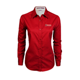 Ladies Red Twill Button Down Long Sleeve-SWAC