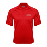 Red Textured Saddle Shoulder Polo-SWAC