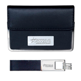 Business Card Case and Key Ring Set Black-SWAC Engraved
