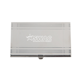 Crosshatch Silver Business Card Holder-SWAC Engraved