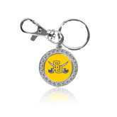 Crystal Studded Round Key Chain-Interlocking SU w/Sabers