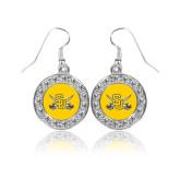 Crystal Studded Round Pendant Silver Dangle Earrings-Interlocking SU w/Sabers