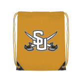 Gold Drawstring Backpack-Interlocking SU w/Sabers