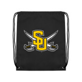 Nylon Black Drawstring Backpack-Interlocking SU w/Sabers