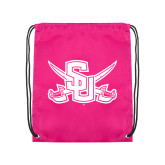 Nylon Pink Drawstring Backpack-Interlocking SU w/Sabers