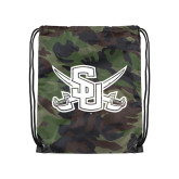 Nylon Camo Drawstring Backpack-Interlocking SU w/Sabers