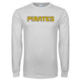 White Long Sleeve T Shirt-Pirates Word Mark