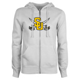ENZA Ladies White Fleece Full Zip Hoodie-Interlocking SU w/Sabers
