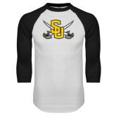 White/Black Raglan Baseball T-Shirt-Interlocking SU w/Sabers