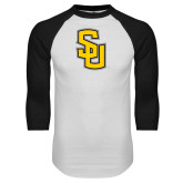 White/Black Raglan Baseball T-Shirt-Interlocking SU