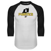 White/Black Raglan Baseball T-Shirt-Official Logo Distressed