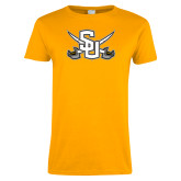 Ladies Gold T Shirt-Interlocking SU w/Sabers