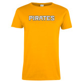 Ladies Gold T Shirt-Pirates Word Mark
