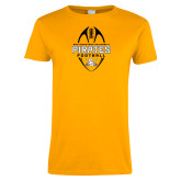 Ladies Gold T Shirt-Pirates Football Vertical