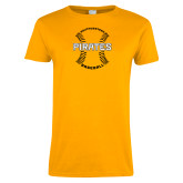 Ladies Gold T Shirt-Pirates Baseball w/ Seams