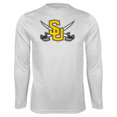 Performance White Longsleeve Shirt-Interlocking SU w/Sabers