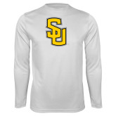 Performance White Longsleeve Shirt-Interlocking SU