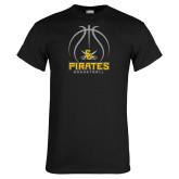 Black T Shirt-Pirates Basketball Stacked