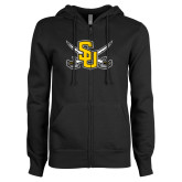 ENZA Ladies Black Fleece Full Zip Hoodie-Interlocking SU w/Sabers