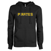 ENZA Ladies Black Fleece Full Zip Hoodie-Pirates Word Mark