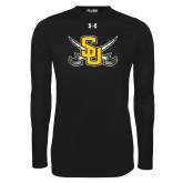 Under Armour Black Long Sleeve Tech Tee-Interlocking SU w/Sabers