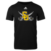 Adidas Black Logo T Shirt-Interlocking SU w/Sabers