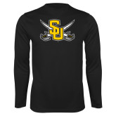Performance Black Longsleeve Shirt-Interlocking SU w/Sabers