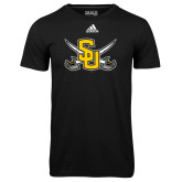 Adidas Climalite Black Ultimate Performance Tee-Interlocking SU w/Sabers
