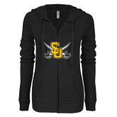 ENZA Ladies Black Light Weight Fleece Full Zip Hoodie-Interlocking SU w/Sabers