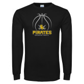 Black Long Sleeve TShirt-Pirates Basketball Stacked