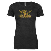 Next Level Ladies Junior Fit Black Burnout Tee-Interlocking SU w/Sabers Foil