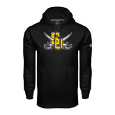 Under Armour Black Performance Sweats Team Hoodie-Interlocking SU w/Sabers