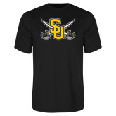 Performance Black Tee-Interlocking SU w/Sabers