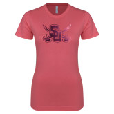 Next Level Ladies SoftStyle Junior Fitted Pink Tee-Interlocking SU w/Sabers Foil