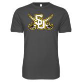 Next Level SoftStyle Charcoal T Shirt-Interlocking SU w/Sabers