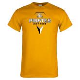 Gold T Shirt-Geometric Lacrosse Head