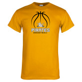 Gold T Shirt-Pirates Basketball Stacked